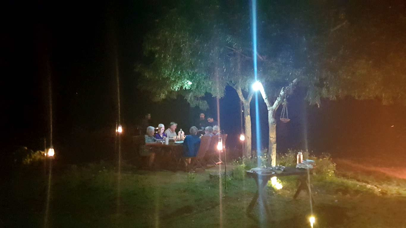 Dinner - nature and lamps - The Ibis Wilpattu
