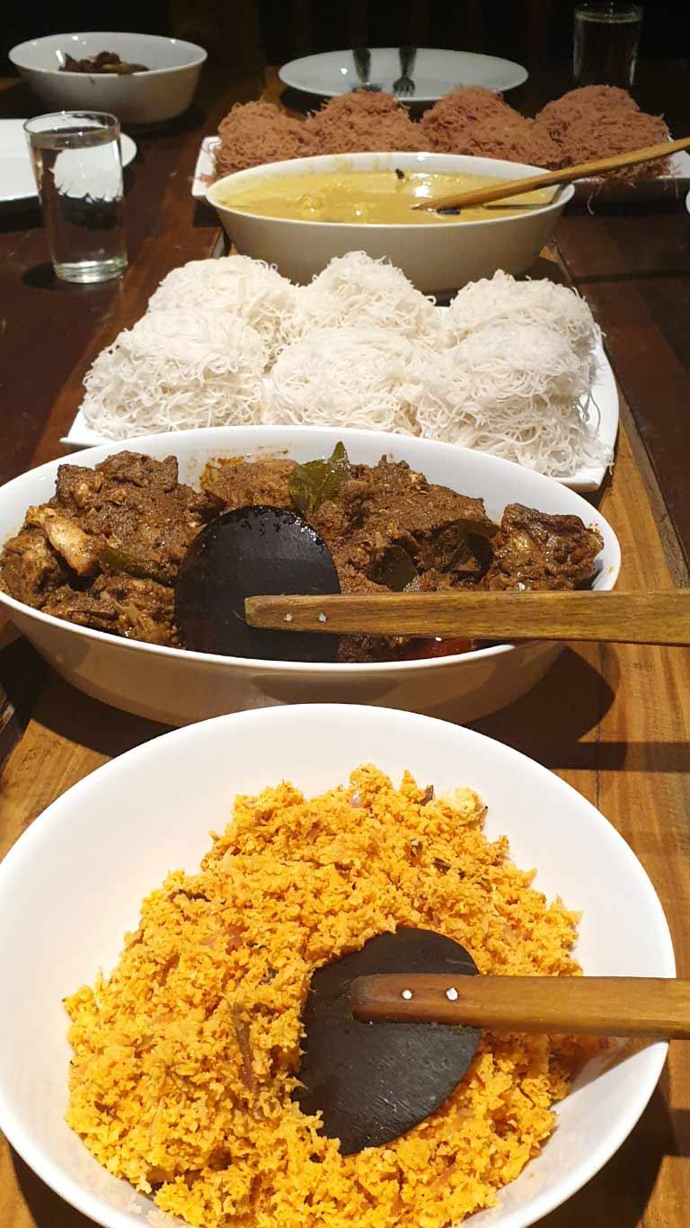 Sri Lankan style dinner with red or white string hopper and pol smabola - The Ibis Wilpattu