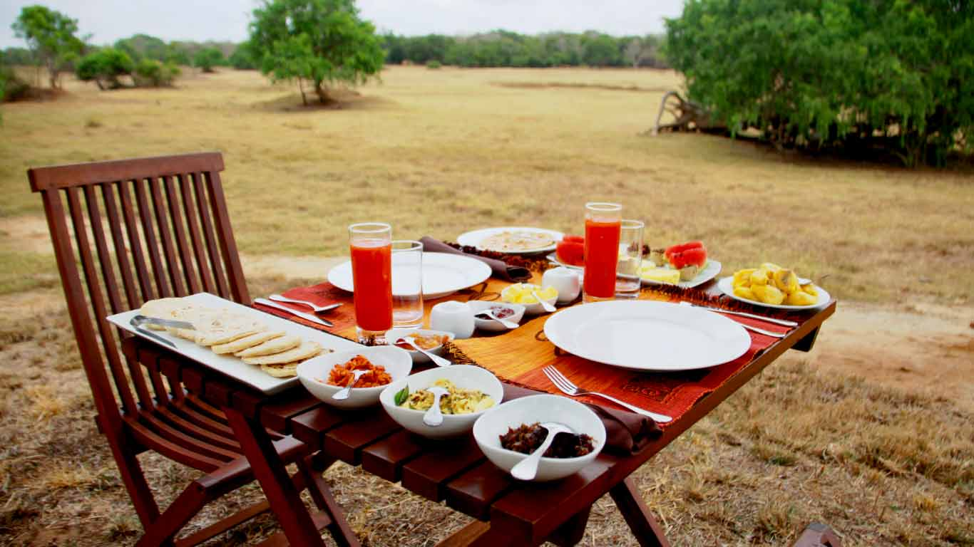 Breakfast is ready to eat at lake side -